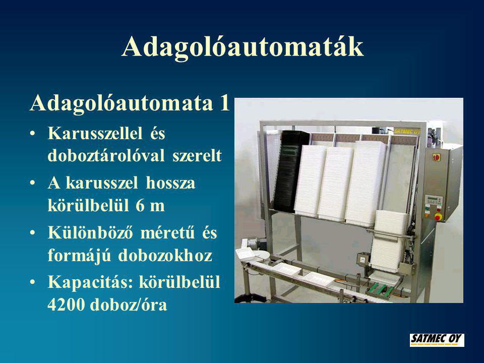 Adagolóautomaták Adagolóautomata 1 •Karusszellel és doboztárolóval szerelt •A karusszel hossza körülbelül 6 m •Különböző méretű és formájú dobozokhoz •Kapacitás: körülbelül 4200 doboz/óra
