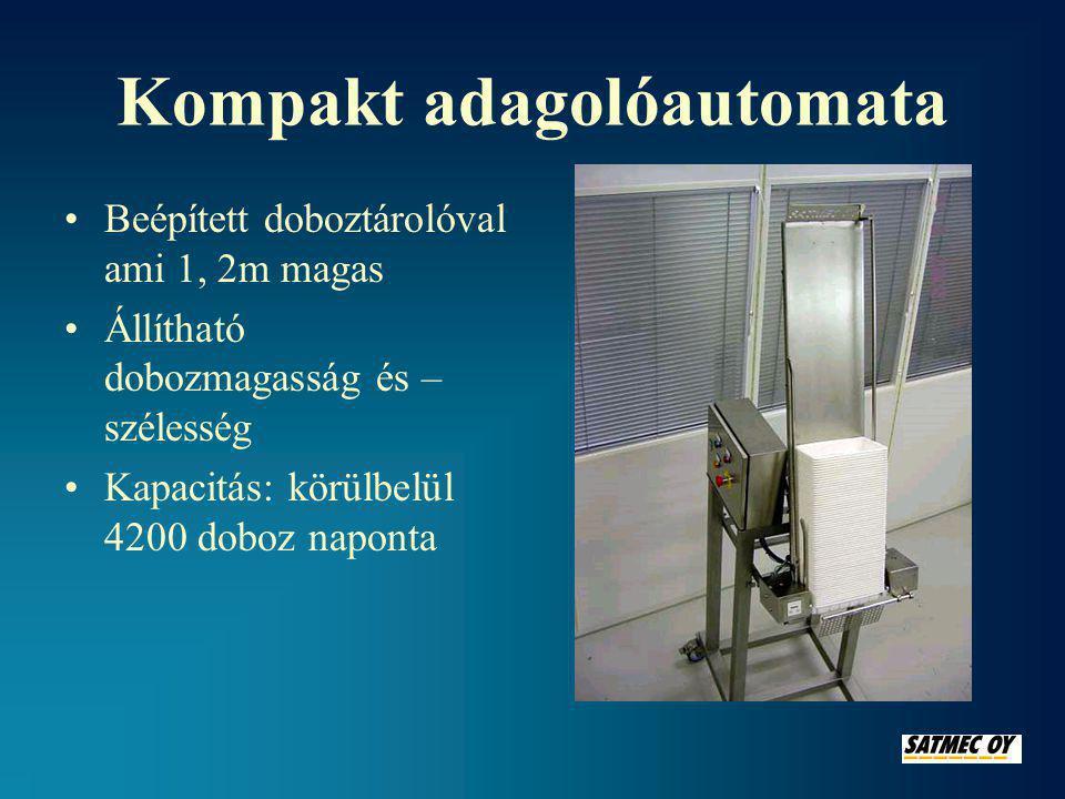 Kompakt adagolóautomata •Beépített doboztárolóval ami 1, 2m magas •Állítható dobozmagasság és – szélesség •Kapacitás: körülbelül 4200 doboz naponta