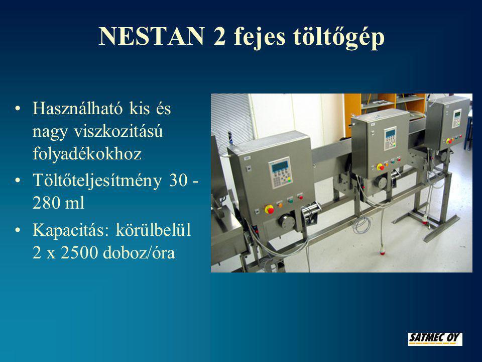 NESTAN – csigás adagolóval szerelt térfogatmérő adagoló gép •Használható alacsony és magas viszkozitású folyadékokhoz •Kapacitás 2000-2500 db/óra •Töltőteljesítmény •D50 henger40 - 270 ml •D80 henger100 - 750 ml •D100 henger200 - 1150 ml •Adagolási pontosság ± 1 %