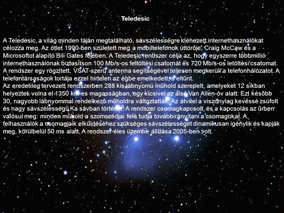 Teledesic A Teledesic, a világ minden táján megtalálható, sávszélességre kiéhezett internethasználókat célozza meg.