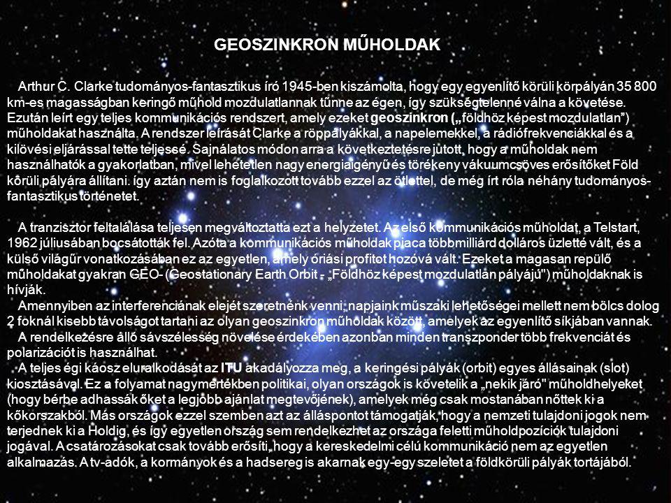 GEOSZINKRON MŰHOLDAK Arthur C.