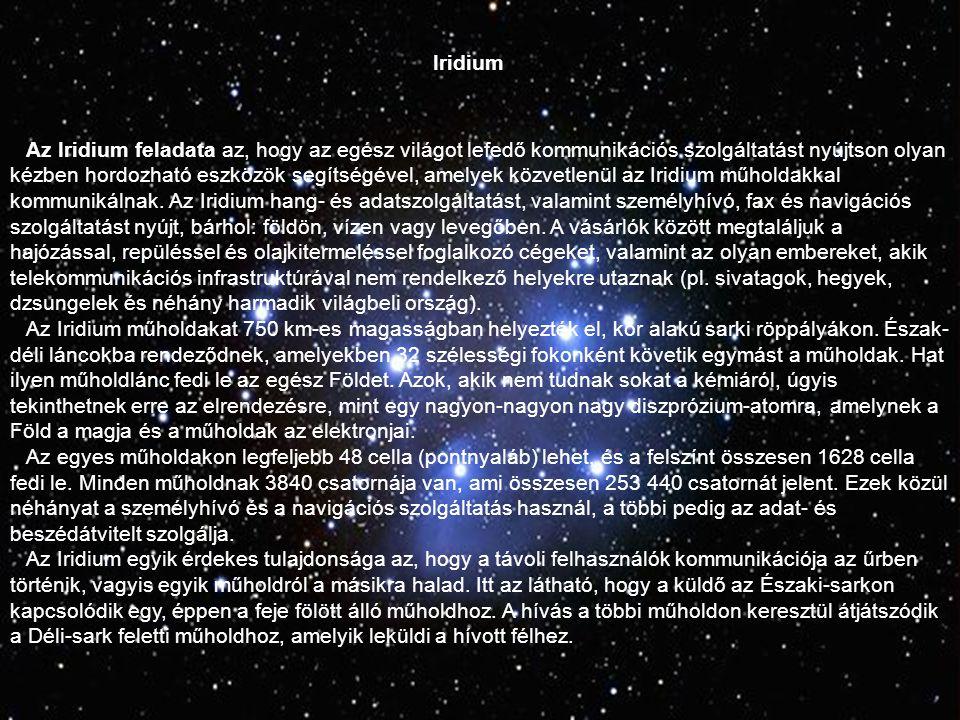 Iridium Az Irídium projekt műholdjai hat láncot alkotnak a Föld körül, 1628 mozgó cella borítja a Földet