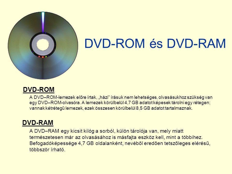 """DVD-ROM és DVD-RAM DVD-ROM A DVD–ROM-lemezek előre írtak, """"házi"""" írásuk nem lehetséges, olvasásukhoz szükség van egy DVD–ROM-olvasóra. A lemezek körül"""