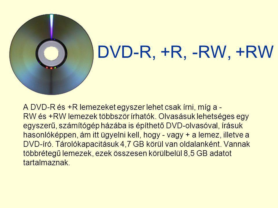 DVD-R, +R, -RW, +RW A DVD-R és +R lemezeket egyszer lehet csak írni, míg a - RW és +RW lemezek többször írhatók. Olvasásuk lehetséges egy egyszerű, sz