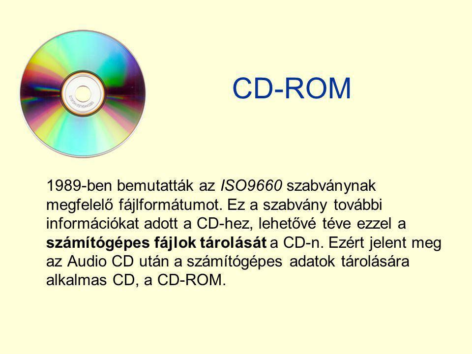 CD-ROM 1989-ben bemutatták az ISO9660 szabványnak megfelelő fájlformátumot. Ez a szabvány további információkat adott a CD-hez, lehetővé téve ezzel a