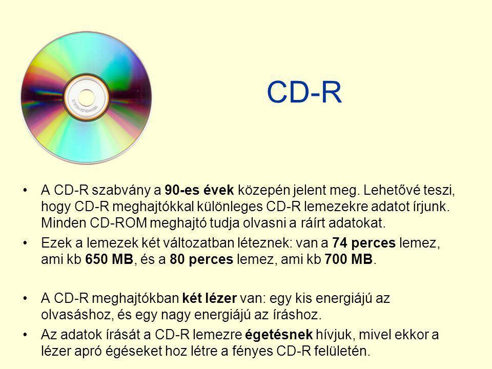 CD-R •A CD-R szabvány a 90-es évek közepén jelent meg. Lehetővé teszi, hogy CD-R meghajtókkal különleges CD-R lemezekre adatot írjunk. Minden CD-ROM m