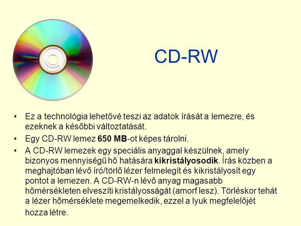 CD-RW •Ez a technológia lehetővé teszi az adatok írását a lemezre, és ezeknek a későbbi változtatását. •Egy CD-RW lemez 650 MB-ot képes tárolni. •A CD