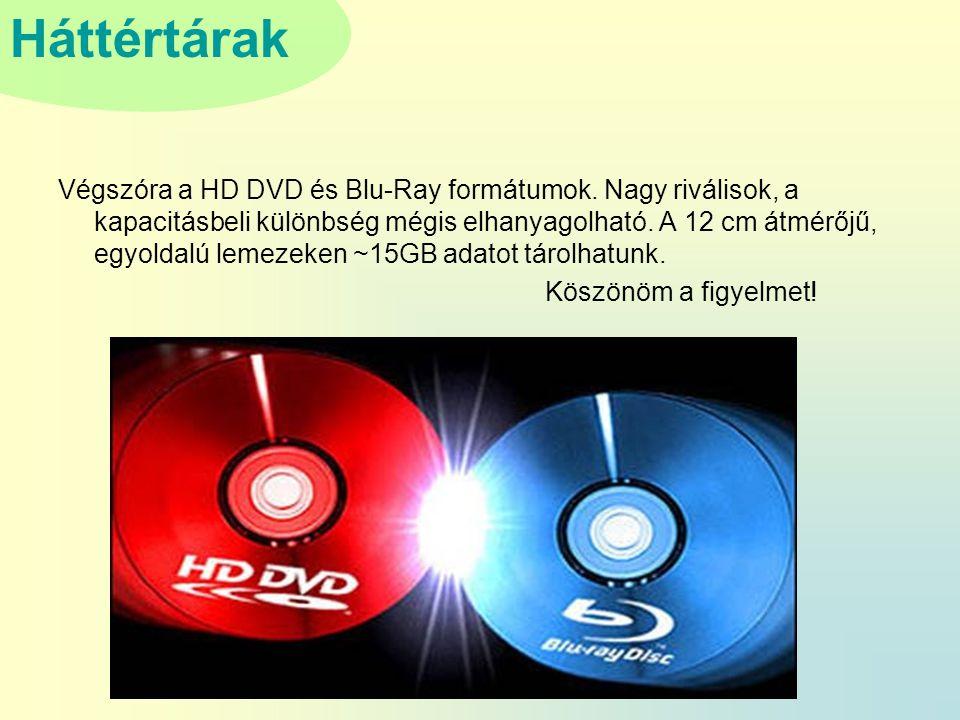 Háttértárak Végszóra a HD DVD és Blu-Ray formátumok.