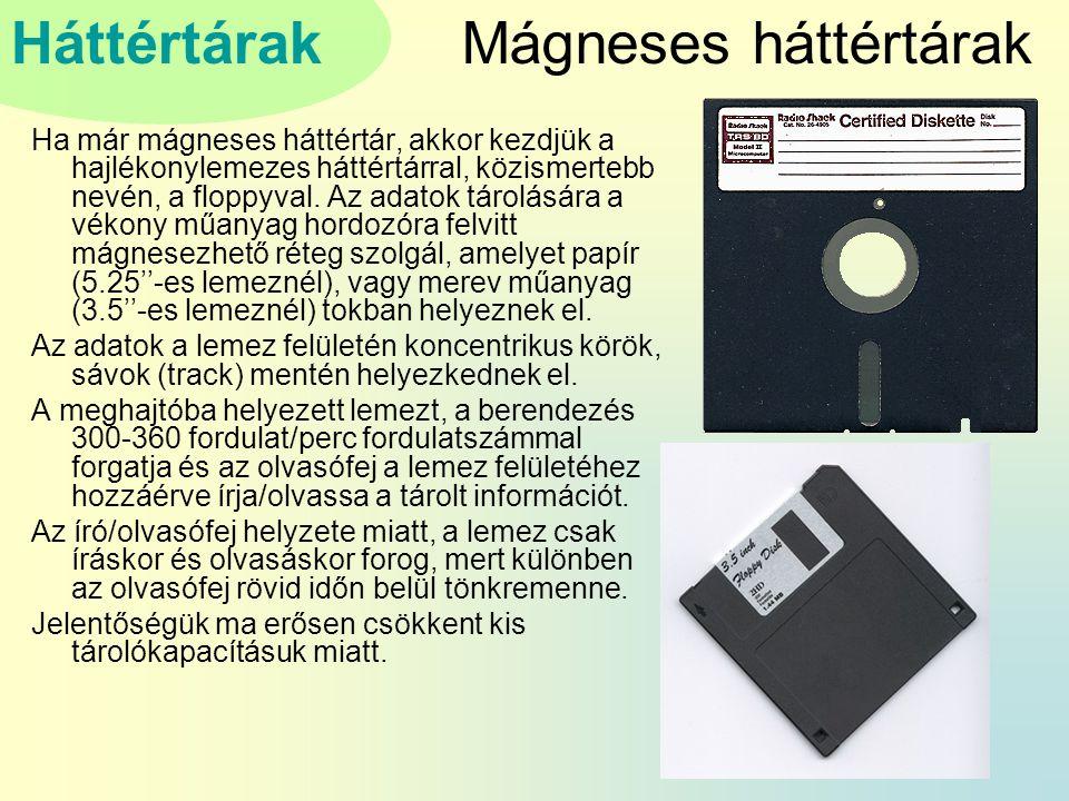 Mágneses háttértárak Ha már mágneses háttértár, akkor kezdjük a hajlékonylemezes háttértárral, közismertebb nevén, a floppyval.