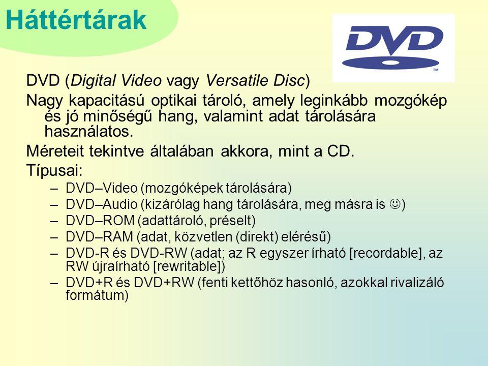 Háttértárak DVD (Digital Video vagy Versatile Disc) Nagy kapacitású optikai tároló, amely leginkább mozgókép és jó minőségű hang, valamint adat tárolására használatos.