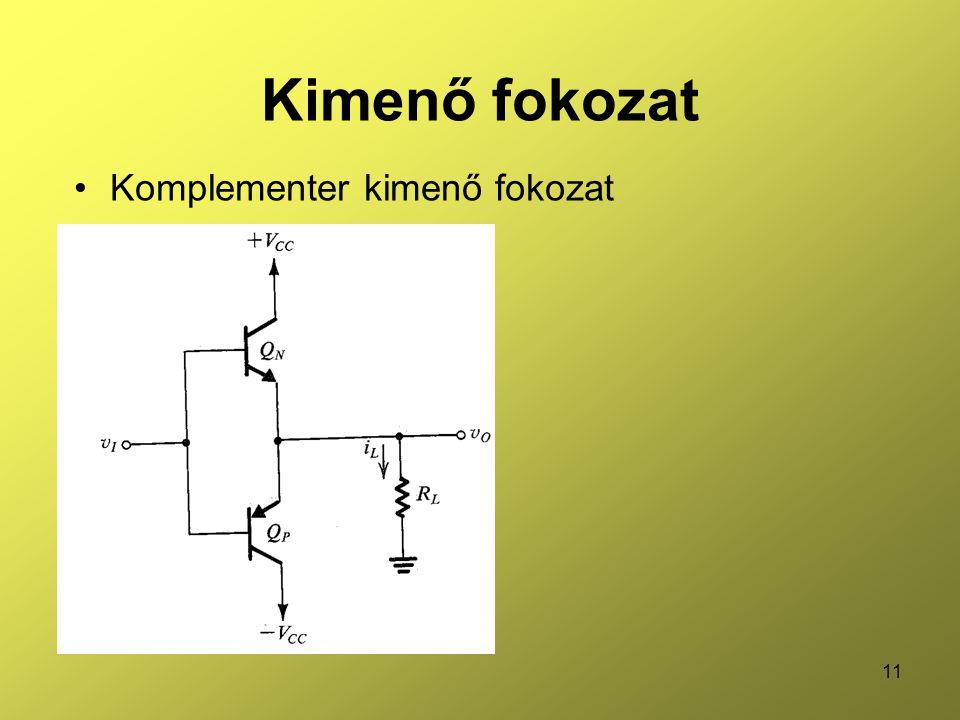 11 Kimenő fokozat •Komplementer kimenő fokozat