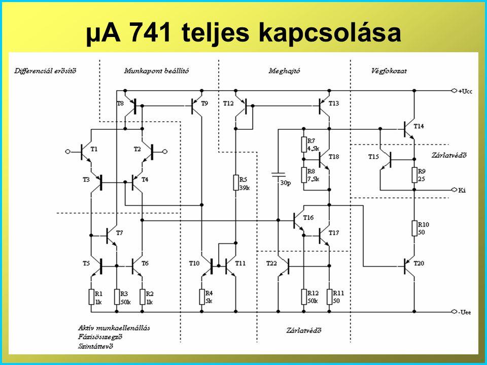 μA 741 teljes kapcsolása