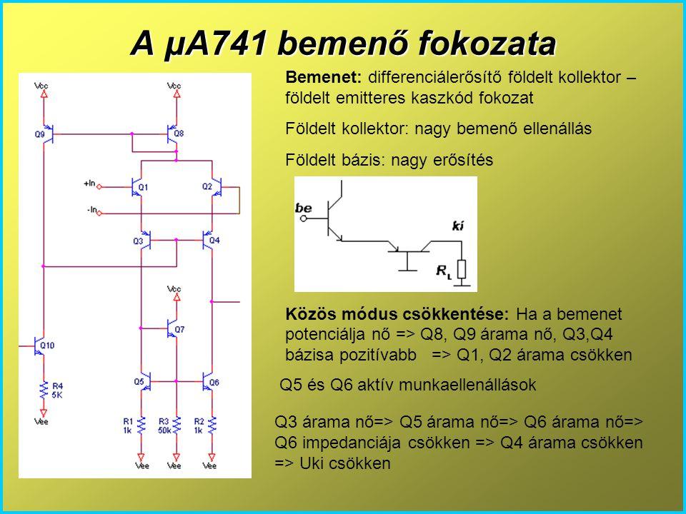 A μA741 bemenő fokozata Bemenet: differenciálerősítő földelt kollektor – földelt emitteres kaszkód fokozat Földelt kollektor: nagy bemenő ellenállás F
