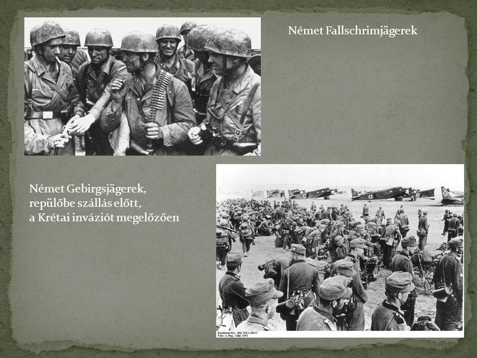 Német Fallschrimjägerek Német Gebirgsjägerek, repülőbe szállás előtt, a Krétai inváziót megelőzően