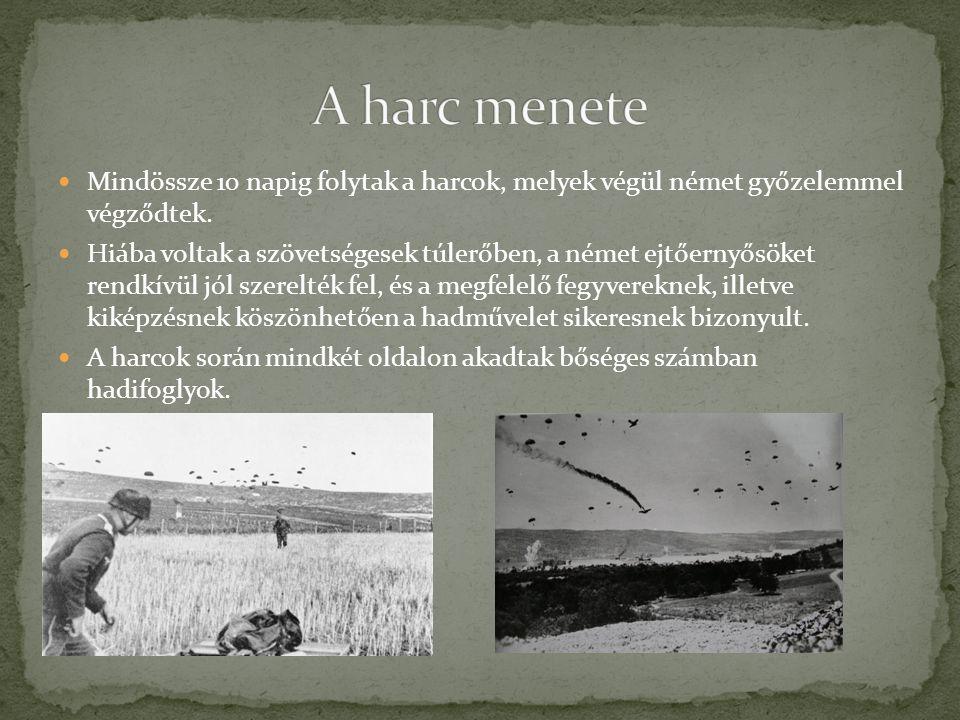 NNémet oldalon nagyjából 7000 fő esett el, vagy került hadifogságba.