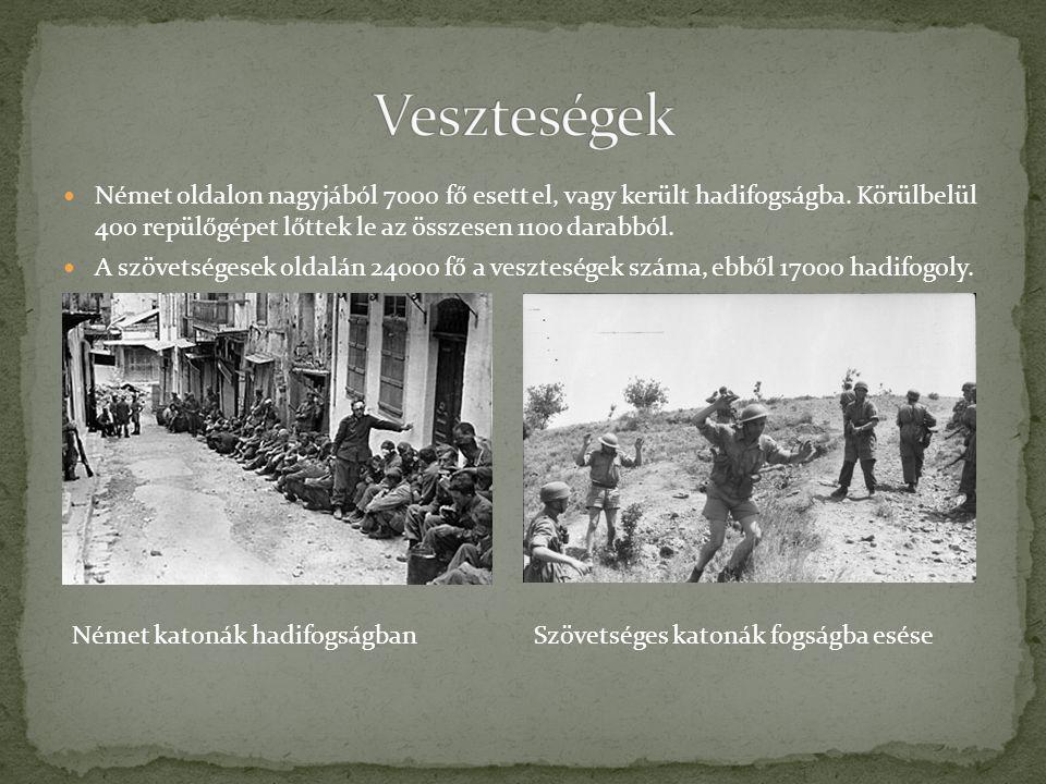 NNémet oldalon nagyjából 7000 fő esett el, vagy került hadifogságba. Körülbelül 400 repülőgépet lőttek le az összesen 1100 darabból. AA szövetsége