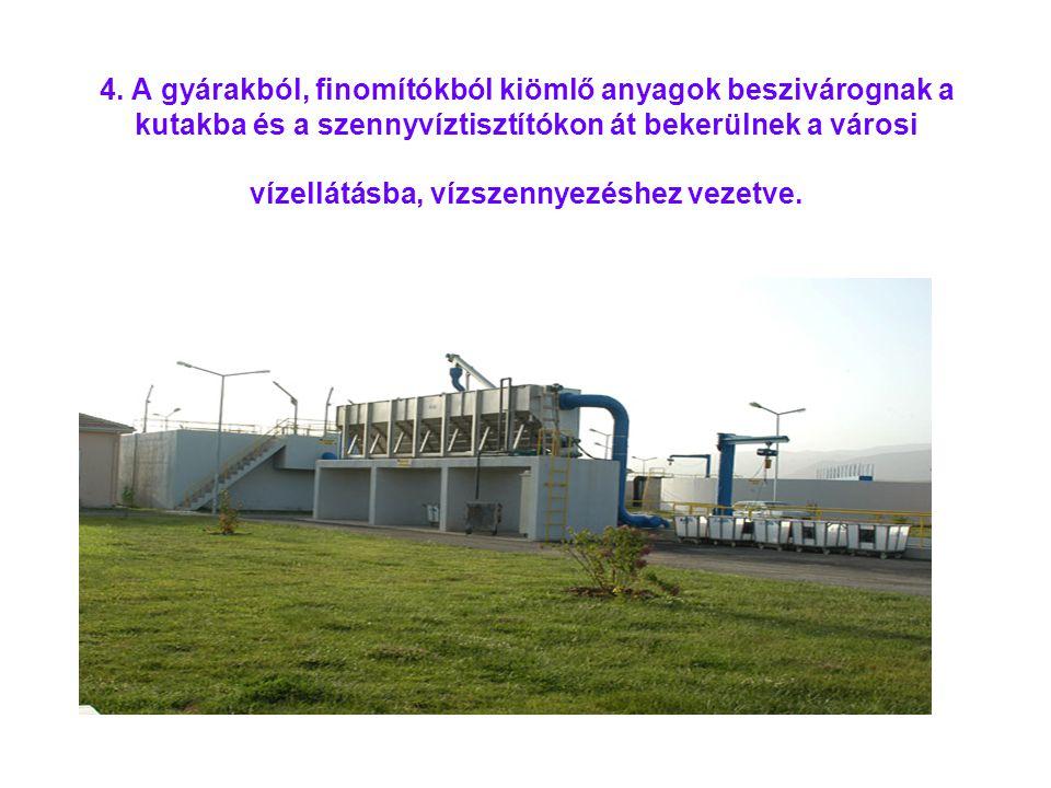 4. A gyárakból, finomítókból kiömlő anyagok beszivárognak a kutakba és a szennyvíztisztítókon át bekerülnek a városi vízellátásba, vízszennyezéshez ve