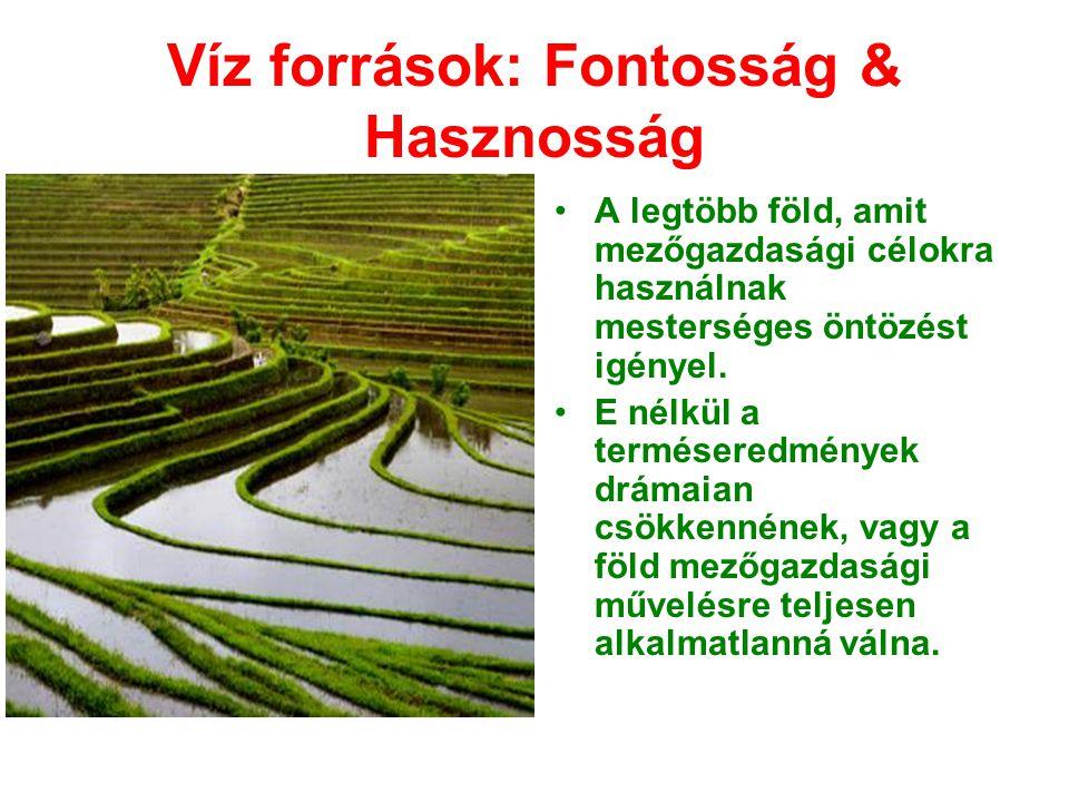 Víz források: Fontosság & Hasznosság •A legtöbb föld, amit mezőgazdasági célokra használnak mesterséges öntözést igényel. •E nélkül a terméseredmények