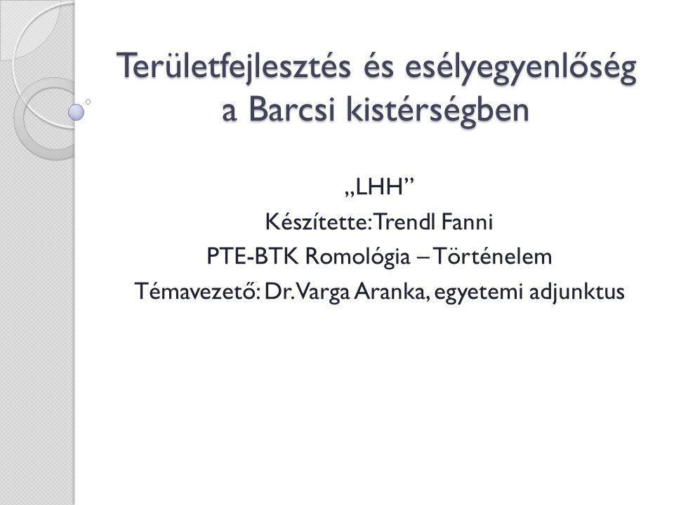 """Területfejlesztés és esélyegyenlőség a Barcsi kistérségben """"LHH Készítette: Trendl Fanni PTE-BTK Romológia – Történelem Témavezető: Dr."""