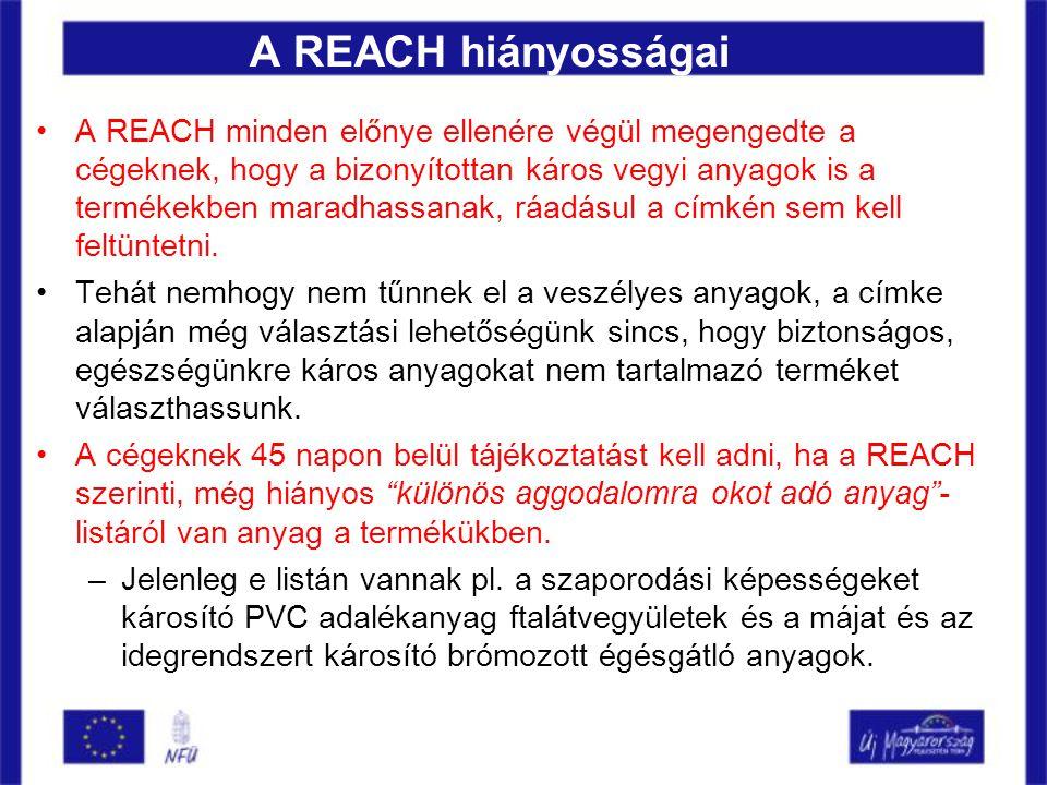 A REACH hiányosságai •A REACH minden előnye ellenére végül megengedte a cégeknek, hogy a bizonyítottan káros vegyi anyagok is a termékekben maradhassanak, ráadásul a címkén sem kell feltüntetni.