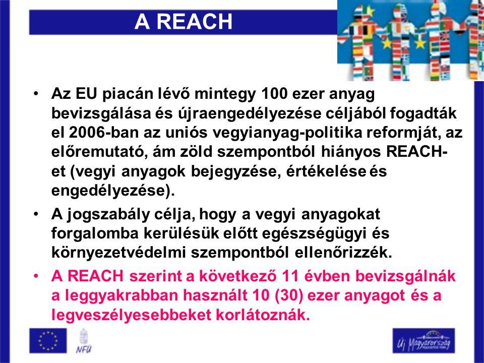A REACH •Az EU piacán lévő mintegy 100 ezer anyag bevizsgálása és újraengedélyezése céljából fogadták el 2006-ban az uniós vegyianyag-politika reformját, az előremutató, ám zöld szempontból hiányos REACH- et (vegyi anyagok bejegyzése, értékelése és engedélyezése).