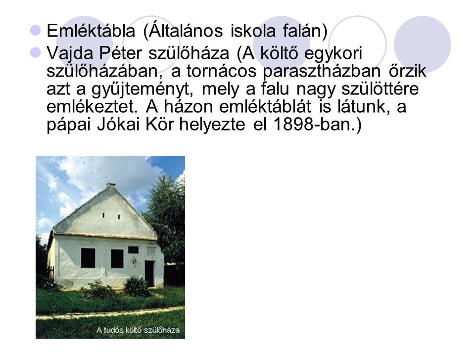  Emléktábla (Általános iskola falán)  Vajda Péter szülőháza (A költő egykori szülőházában, a tornácos parasztházban őrzik azt a gyűjteményt, mely a falu nagy szülöttére emlékeztet.