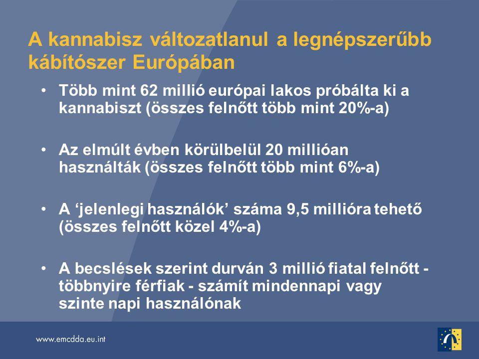 A kannabisz változatlanul a legnépszerűbb kábítószer Európában •Több mint 62 millió európai lakos próbálta ki a kannabiszt (összes felnőtt több mint 20%-a) •Az elmúlt évben körülbelül 20 millióan használták (összes felnőtt több mint 6%-a) •A 'jelenlegi használók' száma 9,5 millióra tehető (összes felnőtt közel 4%-a) •A becslések szerint durván 3 millió fiatal felnőtt - többnyire férfiak - számít mindennapi vagy szinte napi használónak
