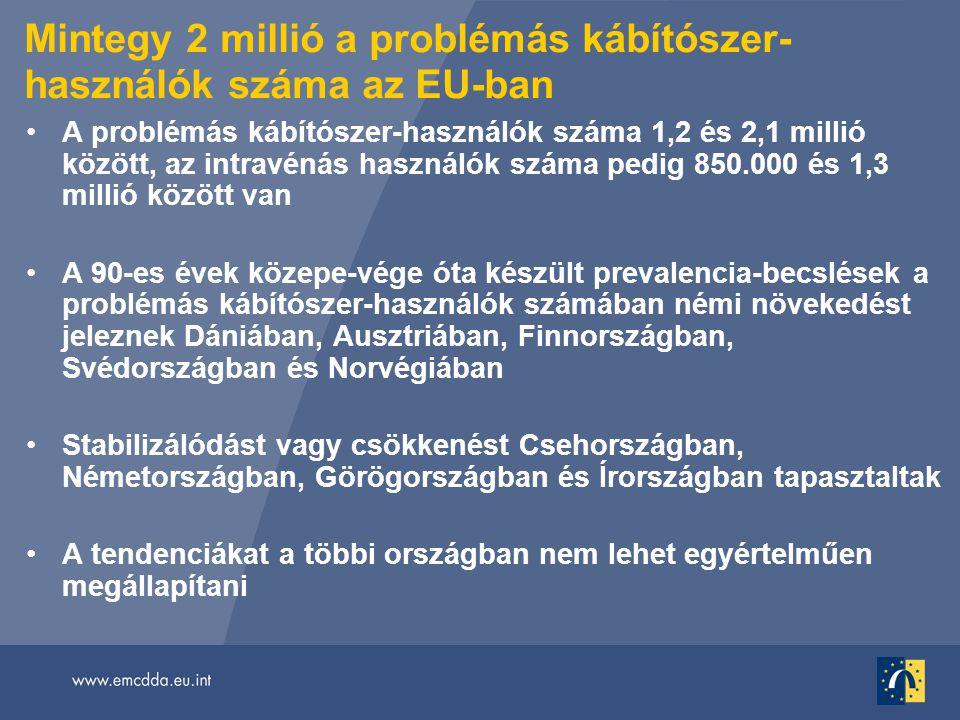 Mintegy 2 millió a problémás kábítószer- használók száma az EU-ban •A problémás kábítószer-használók száma 1,2 és 2,1 millió között, az intravénás használók száma pedig 850.000 és 1,3 millió között van •A 90-es évek közepe-vége óta készült prevalencia-becslések a problémás kábítószer-használók számában némi növekedést jeleznek Dániában, Ausztriában, Finnországban, Svédországban és Norvégiában •Stabilizálódást vagy csökkenést Csehországban, Németországban, Görögországban és Írországban tapasztaltak •A tendenciákat a többi országban nem lehet egyértelműen megállapítani