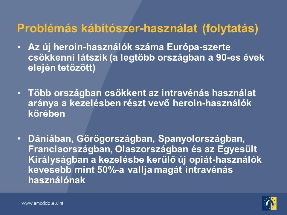 Problémás kábítószer-használat (folytatás) •Az új heroin-használók száma Európa-szerte csökkenni látszik (a legtöbb országban a 90-es évek elején tetőzött) •Több országban csökkent az intravénás használat aránya a kezelésben részt vevő heroin-használók körében •Dániában, Görögországban, Spanyolországban, Franciaországban, Olaszországban és az Egyesült Királyságban a kezelésbe kerülő új opiát-használók kevesebb mint 50%-a vallja magát intravénás használónak