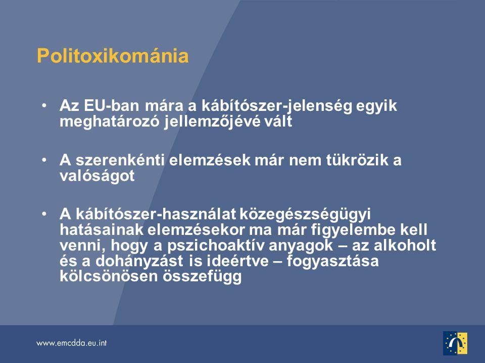 Politoxikománia •Az EU-ban mára a kábítószer-jelenség egyik meghatározó jellemzőjévé vált •A szerenkénti elemzések már nem tükrözik a valóságot •A kábítószer-használat közegészségügyi hatásainak elemzésekor ma már figyelembe kell venni, hogy a pszichoaktív anyagok – az alkoholt és a dohányzást is ideértve – fogyasztása kölcsönösen összefügg