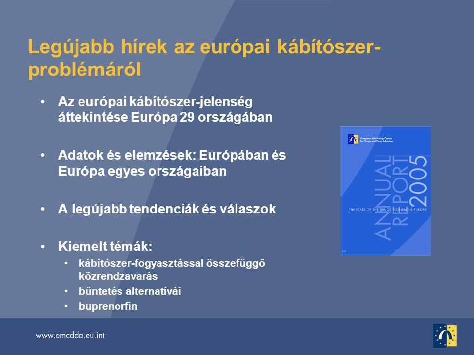 Legújabb hírek az európai kábítószer- problémáról •Az európai kábítószer-jelenség áttekintése Európa 29 országában •Adatok és elemzések: Európában és Európa egyes országaiban •A legújabb tendenciák és válaszok •Kiemelt témák: •kábítószer-fogyasztással összefüggő közrendzavarás •büntetés alternatívái •buprenorfin
