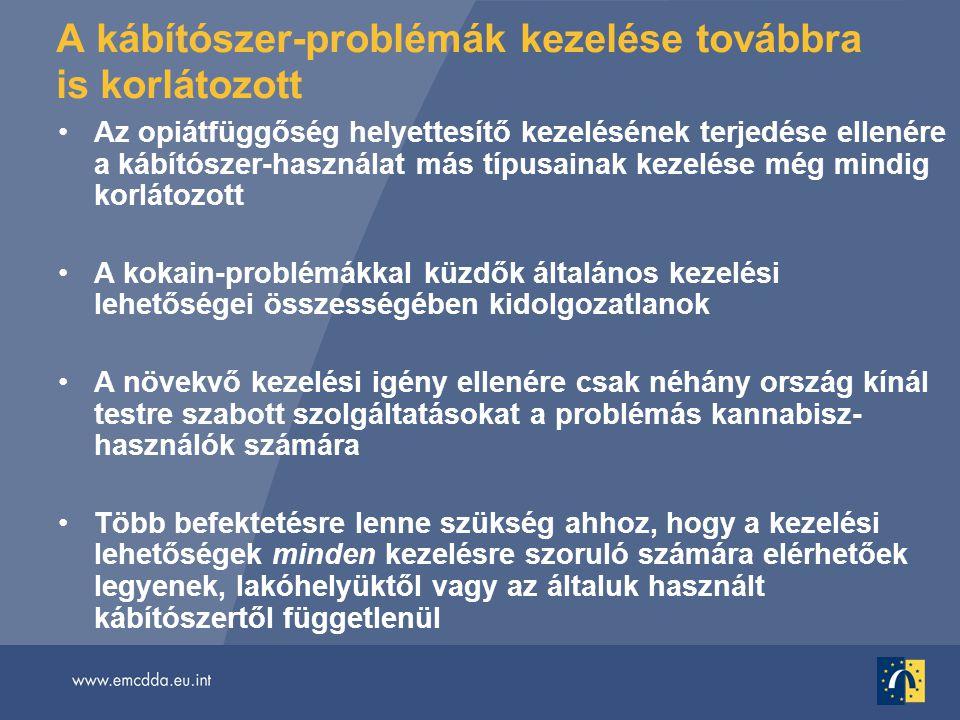 A kábítószer-problémák kezelése továbbra is korlátozott •Az opiátfüggőség helyettesítő kezelésének terjedése ellenére a kábítószer-használat más típusainak kezelése még mindig korlátozott •A kokain-problémákkal küzdők általános kezelési lehetőségei összességében kidolgozatlanok •A növekvő kezelési igény ellenére csak néhány ország kínál testre szabott szolgáltatásokat a problémás kannabisz- használók számára •Több befektetésre lenne szükség ahhoz, hogy a kezelési lehetőségek minden kezelésre szoruló számára elérhetőek legyenek, lakóhelyüktől vagy az általuk használt kábítószertől függetlenül