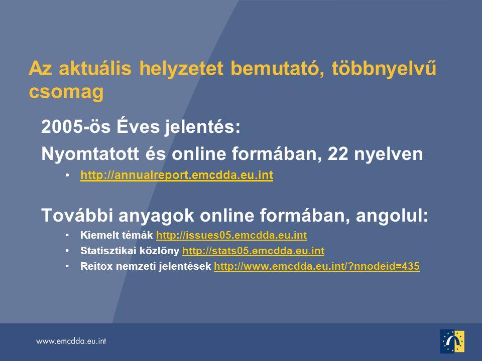 Az aktuális helyzetet bemutató, többnyelvű csomag 2005-ös Éves jelentés: Nyomtatott és online formában, 22 nyelven •http://annualreport.emcdda.eu.inthttp://annualreport.emcdda.eu.int További anyagok online formában, angolul: •Kiemelt témák http://issues05.emcdda.eu.inthttp://issues05.emcdda.eu.int •Statisztikai közlöny http://stats05.emcdda.eu.inthttp://stats05.emcdda.eu.int •Reitox nemzeti jelentések http://www.emcdda.eu.int/ nnodeid=435http://www.emcdda.eu.int/ nnodeid=435