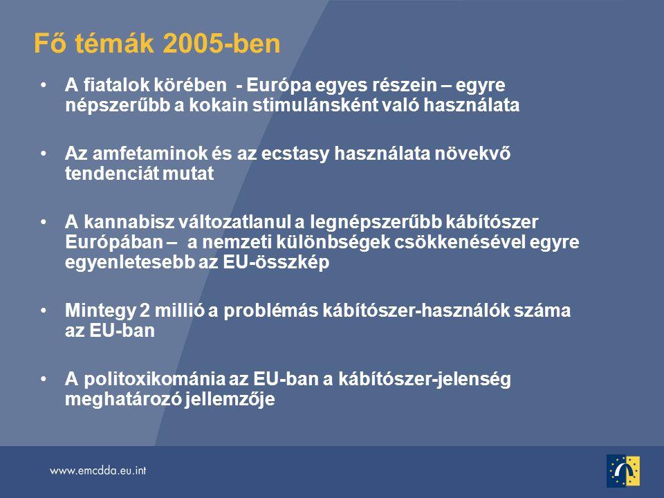 Fő témák 2005-ben •A fiatalok körében - Európa egyes részein – egyre népszerűbb a kokain stimulánsként való használata •Az amfetaminok és az ecstasy használata növekvő tendenciát mutat •A kannabisz változatlanul a legnépszerűbb kábítószer Európában – a nemzeti különbségek csökkenésével egyre egyenletesebb az EU-összkép •Mintegy 2 millió a problémás kábítószer-használók száma az EU-ban •A politoxikománia az EU-ban a kábítószer-jelenség meghatározó jellemzője