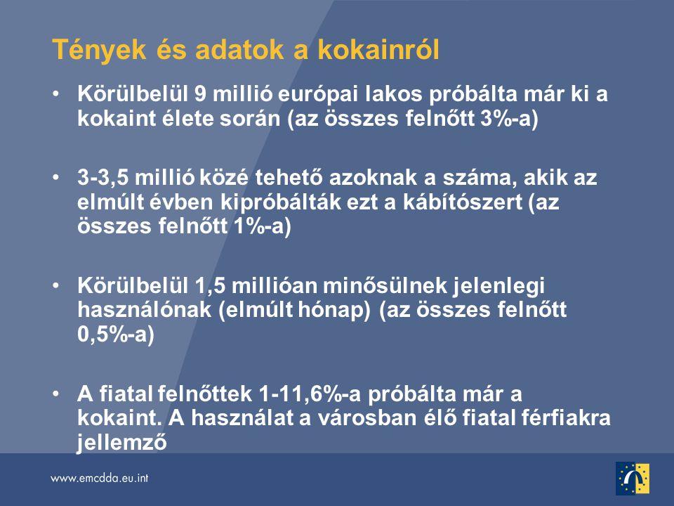 •Körülbelül 9 millió európai lakos próbálta már ki a kokaint élete során (az összes felnőtt 3%-a) •3-3,5 millió közé tehető azoknak a száma, akik az elmúlt évben kipróbálták ezt a kábítószert (az összes felnőtt 1%-a) •Körülbelül 1,5 millióan minősülnek jelenlegi használónak (elmúlt hónap) (az összes felnőtt 0,5%-a) •A fiatal felnőttek 1-11,6%-a próbálta már a kokaint.