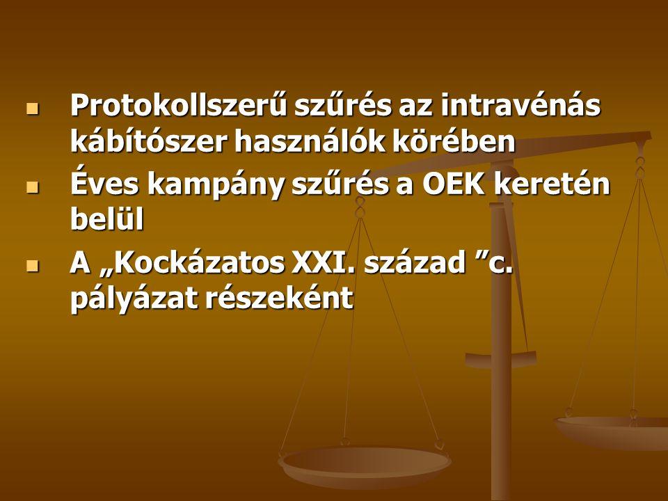 """ Protokollszerű szűrés az intravénás kábítószer használók körében  Éves kampány szűrés a OEK keretén belül  A """"Kockázatos XXI. század """"c. pályázat"""