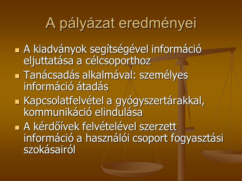 A pályázat eredményei  A kiadványok segítségével információ eljuttatása a célcsoporthoz  Tanácsadás alkalmával: személyes információ átadás  Kapcso