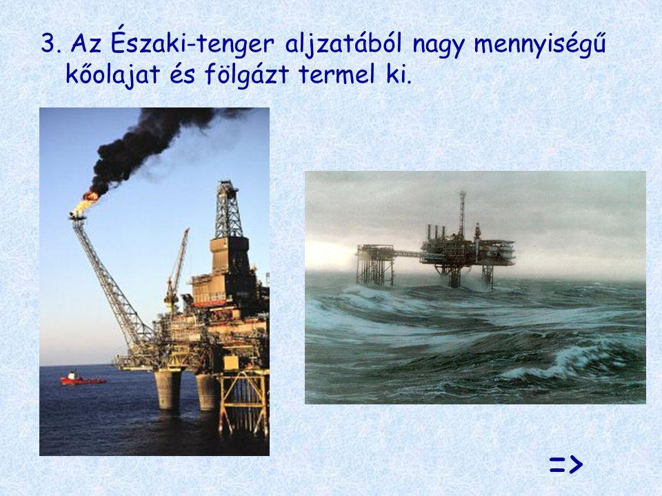 3. Az Északi-tenger aljzatából nagy mennyiségű kőolajat és fölgázt termel ki. =>