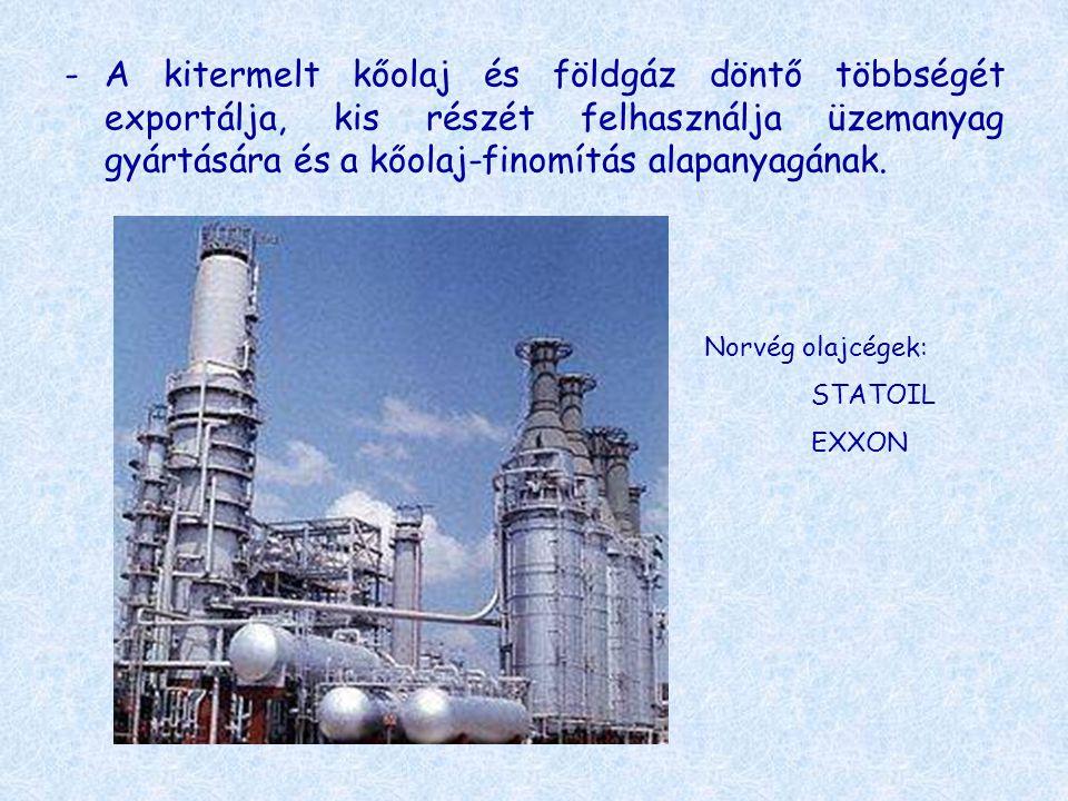 -A kitermelt kőolaj és földgáz döntő többségét exportálja, kis részét felhasználja üzemanyag gyártására és a kőolaj-finomítás alapanyagának. Norvég ol