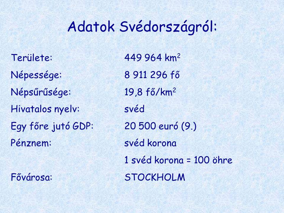 Adatok Svédországról: Területe:449 964 km 2 Népessége:8 911 296 fő Népsűrűsége:19,8 fő/km 2 Hivatalos nyelv:svéd Egy főre jutó GDP:20 500 euró (9.) Pé