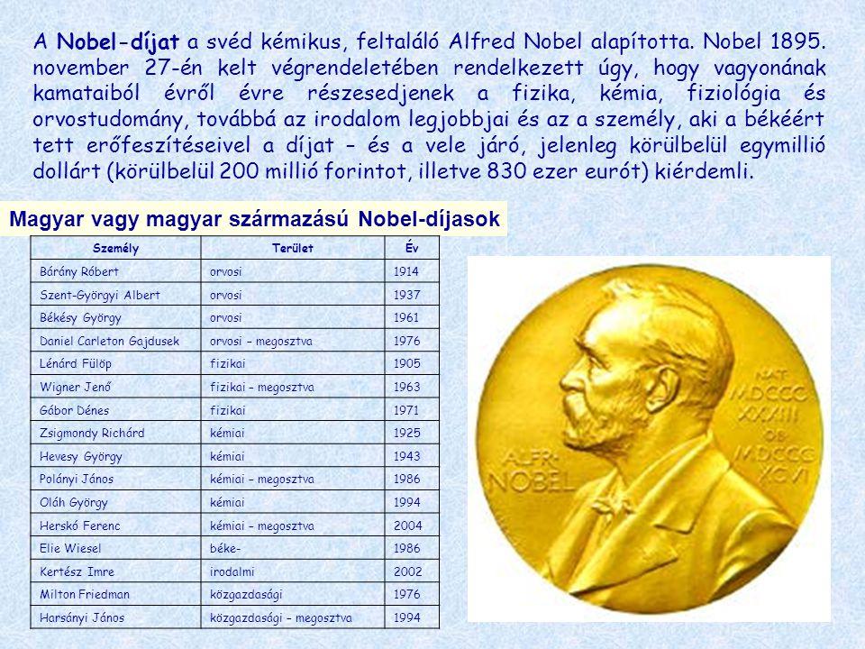 A Nobel-díjat a svéd kémikus, feltaláló Alfred Nobel alapította. Nobel 1895. november 27-én kelt végrendeletében rendelkezett úgy, hogy vagyonának kam