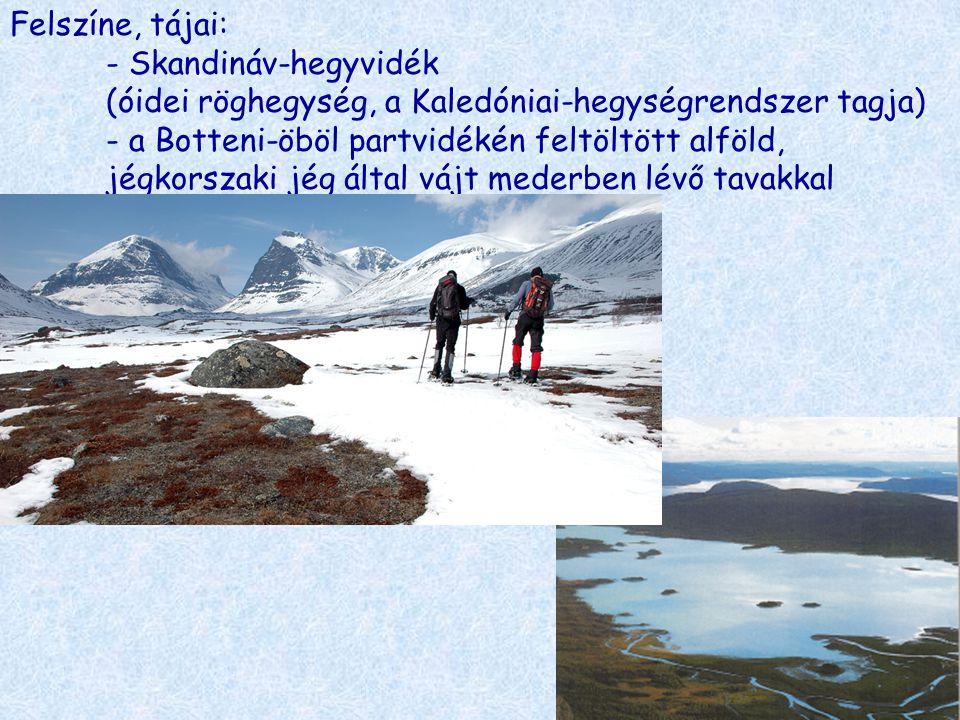 Felszíne, tájai: - Skandináv-hegyvidék (óidei röghegység, a Kaledóniai-hegységrendszer tagja) - a Botteni-öböl partvidékén feltöltött alföld, jégkorsz