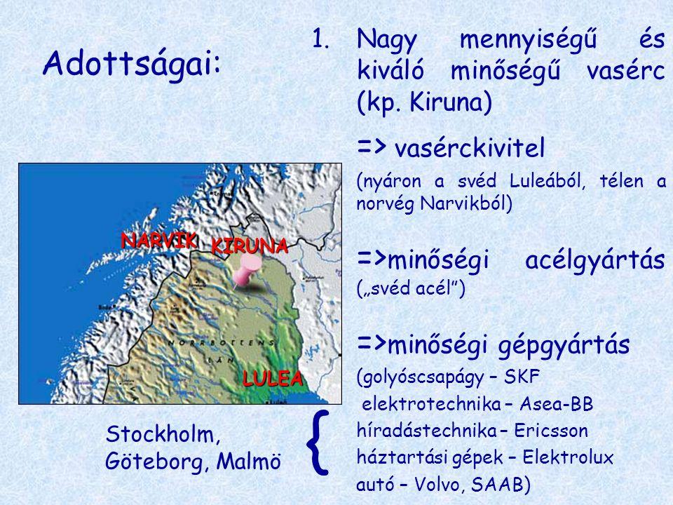 Adottságai: 1.Nagy mennyiségű és kiváló minőségű vasérc (kp. Kiruna) => vasérckivitel (nyáron a svéd Luleából, télen a norvég Narvikból) => minőségi a
