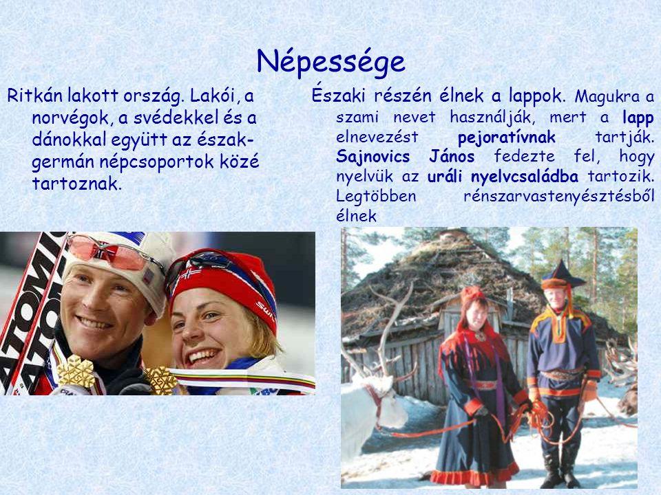 Népessége Ritkán lakott ország. Lakói, a norvégok, a svédekkel és a dánokkal együtt az észak- germán népcsoportok közé tartoznak. Északi részén élnek