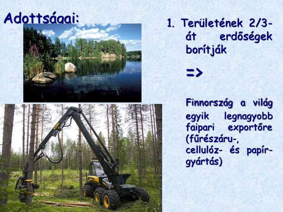 Adottságai: 1. Területének 2/3- át erdőségek borítják => Finnország a világ egyik legnagyobb faipari exportőre (fűrészáru-, cellulóz- és papír- gyártá