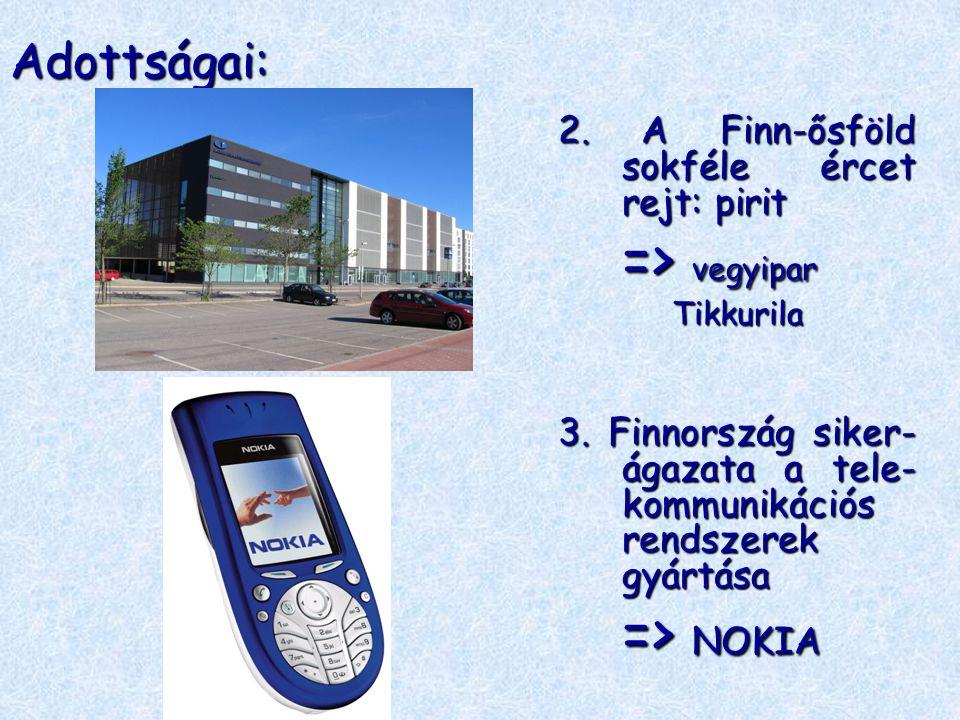 Adottságai: 2. A Finn-ősföld sokféle ércet rejt: pirit => vegyipar Tikkurila 3. Finnország siker- ágazata a tele- kommunikációs rendszerek gyártása =>