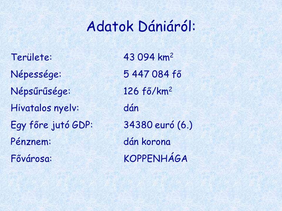 Adatok Dániáról: Területe:43 094 km 2 Népessége:5 447 084 fő Népsűrűsége:126 fő/km 2 Hivatalos nyelv:dán Egy főre jutó GDP:34380 euró (6.) Pénznem:dán