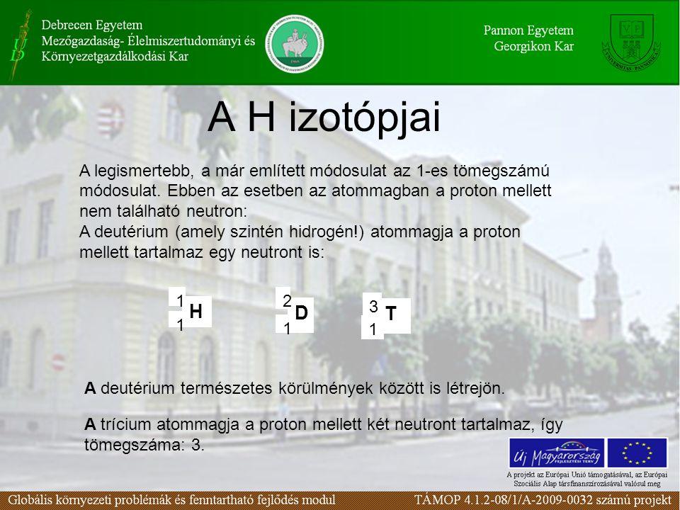 A H izotópjai H 1 1 D 2 1 A legismertebb, a már említett módosulat az 1-es tömegszámú módosulat.