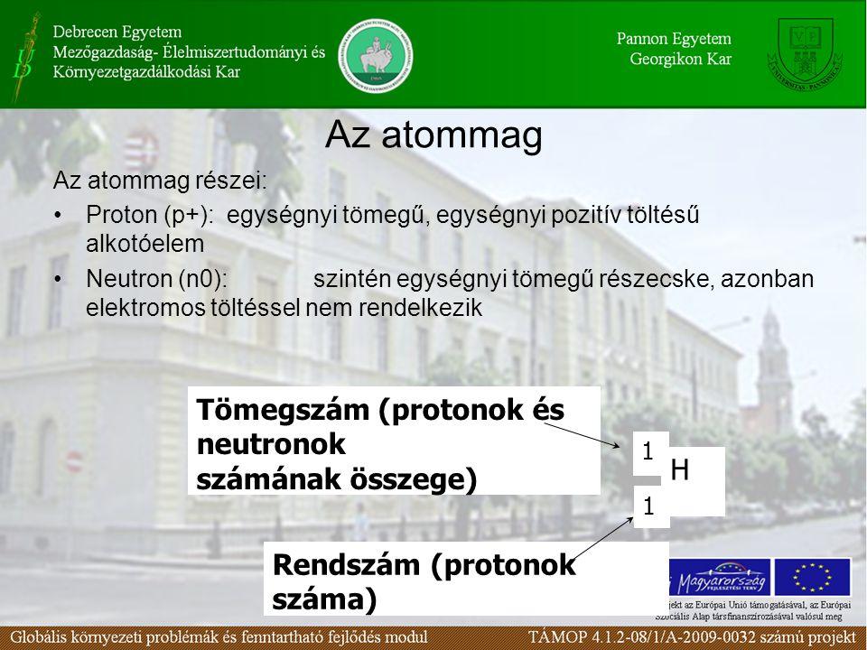 Az atommag részei: •Proton (p+):egységnyi tömegű, egységnyi pozitív töltésű alkotóelem •Neutron (n0):szintén egységnyi tömegű részecske, azonban elektromos töltéssel nem rendelkezik H 1 1 Tömegszám (protonok és neutronok számának összege) Rendszám (protonok száma) Az atommag