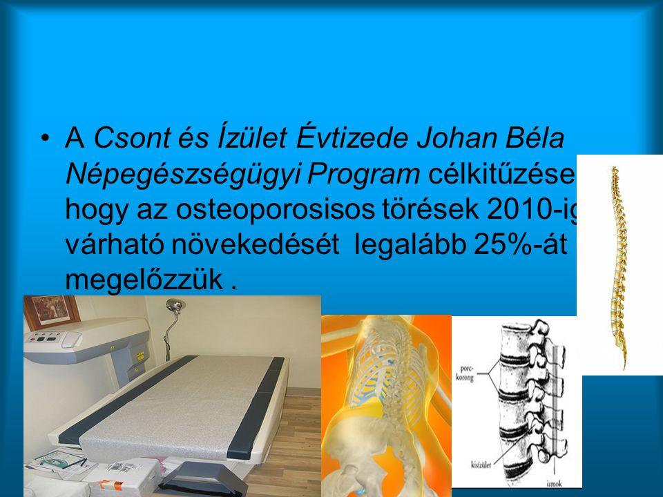 •A Csont és Ízület Évtizede Johan Béla Népegészségügyi Program célkitűzése, hogy az osteoporosisos törések 2010-ig várható növekedését legalább 25%-át